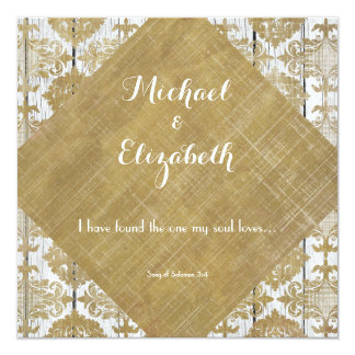 Vintage Gold Damask and Wood with Bible Verse 13 Cm X 13 Cm Square Invitation Card