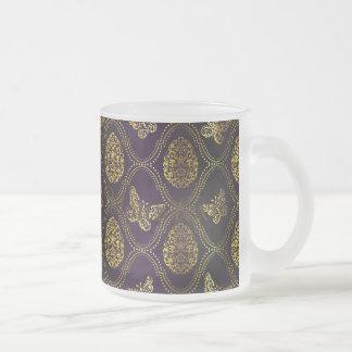 vintage,gold,damask,butterfly,pattern,chic,girly, frosted glass mug