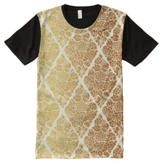 Vintage,gold,damask,floral,pattern,elegant,chic,be All-Over Print T-Shirt