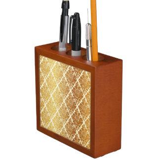 Vintage,gold,damask,floral,pattern,elegant,chic,be Desk Organiser