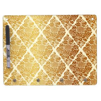 Vintage,gold,damask,floral,pattern,elegant,chic,be Dry Erase Board With Key Ring Holder
