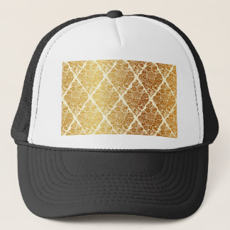 Vintage,gold,damask,floral,pattern,elegant,chic, Trucker Hat