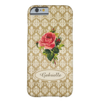 Vintage Gold Damask Pattern Pink Rose and Name Barely There iPhone 6 Case