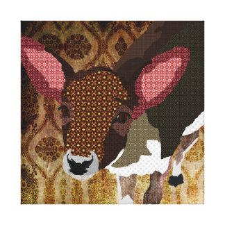Vintage Gold Darling Deer Art Canvas Stretched Canvas Print