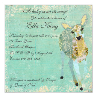 "Vintage Gold Dearest Deer Baby Invitation 5.25"" Square Invitation Card"