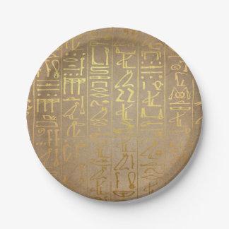 Vintage Gold Egyptian Hieroglyphics Paper Print Paper Plate