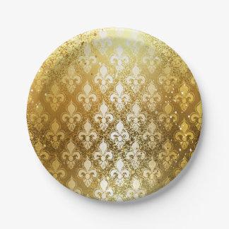Vintage,gold,fleur de lis,antique,vintage,chic,fun 7 inch paper plate