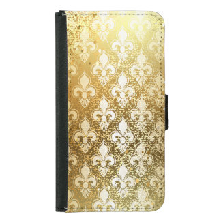 Vintage,gold,fleur de lis,antique,vintage,chic,fun samsung galaxy s5 wallet case