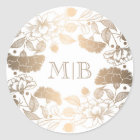 Vintage Gold Floral Wreath Elegant Wedding Classic Round Sticker