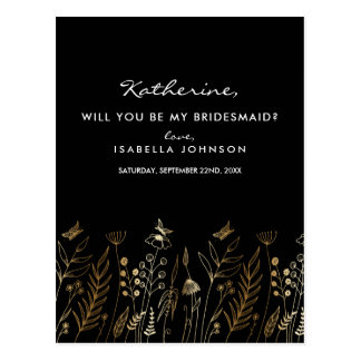 Vintage Gold Foil Black Will You Be My Bridesmaid? Postcard
