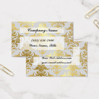 Vintage Gold Foil Damask Business Card