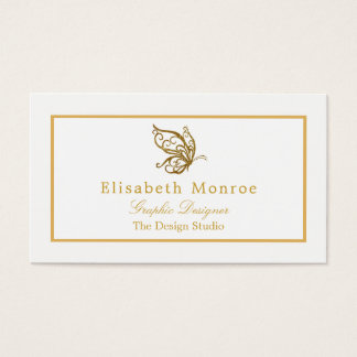 Vintage Gold Glitter Butterfly Business Card