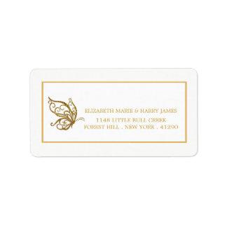 Vintage Gold Glitter Butterfly Wedding Address Label