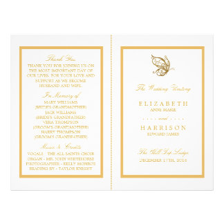 Vintage Gold Glitter Butterfly Wedding Program Flyer