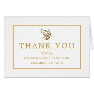 Vintage Gold Glitter Butterfly Wedding Thank You Card