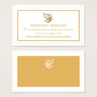 Vintage Gold Glitter Butterfly Wedding Website Business Card
