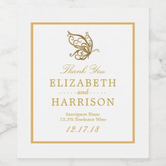 Vintage Gold Glitter Butterfly Wedding Wine Label