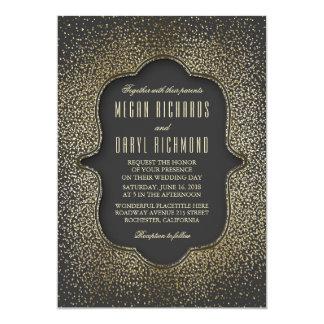 Vintage Gold Glitter Confetti Wedding 13 Cm X 18 Cm Invitation Card