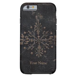 Vintage Gold Leaf Ornate Design on Worn Leather Tough iPhone 6 Case