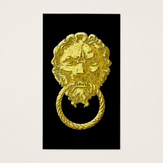 Vintage Gold Lion Door Knocker Business Card