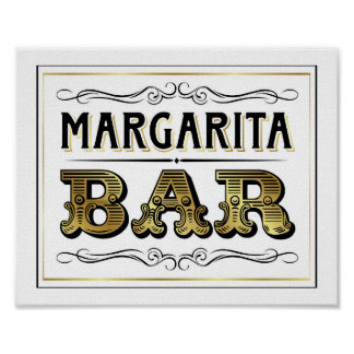 Vintage Gold MARGARITA BAR Sign Print