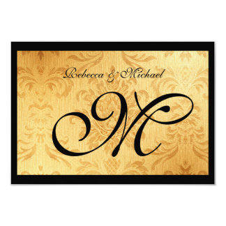 Vintage Gold Monogram RSVP Card 9 Cm X 13 Cm Invitation Card