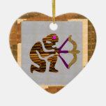 VINTAGE Gold PREMIUM gifts: Hunter Bow n Arrow TIP Ceramic Heart Decoration