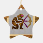 VINTAGE Gold PREMIUM gifts: Hunter Bow n Arrow TIP Ceramic Star Decoration