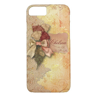Vintage Gold Roses and Lace Personalized iPhone 7 Case