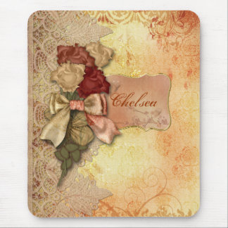 Vintage Gold Roses and Lace Personalized Mousepad