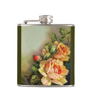 Vintage Gold Roses Hip Flask