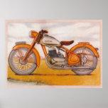 Vintage Gold Socovel Motorcycle Print
