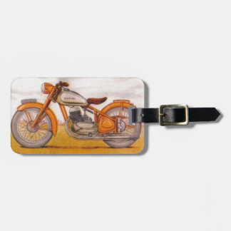 Vintage Gold Socovel Motorcycle Print Luggage Tag