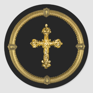 Vintage Gold Tone Cross and Deco Keyhole Frame Round Sticker