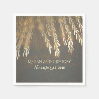 Vintage Gold Willow Tree Branches Wedding Paper Napkin