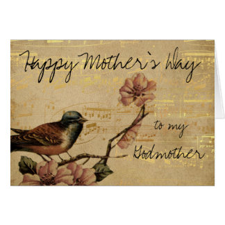 Vintage Gold With Music and Bird Mothers Day Card