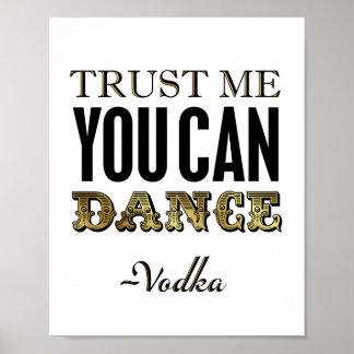 Vintage Gold YOU CAN DANCE -Vodka Sign Print