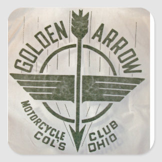 Vintage Golden Arrow Motorcycle Logo Square Sticker