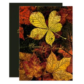 Vintage golden autumn leaves wedding card