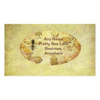 Vintage golden bee business card