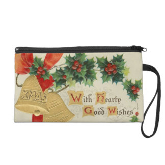 Vintage Golden Christmas Bells and Holly Wristlet Purses