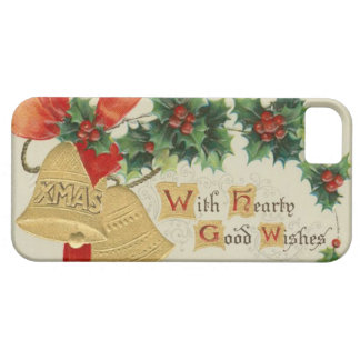Vintage Golden Christmas Bells and Holly Case For The iPhone 5