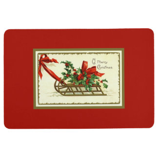 Vintage Golden Christmas Sleigh Floor Mat