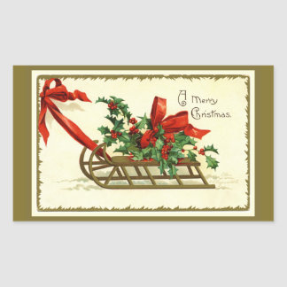 Vintage Golden Christmas Sleigh Rectangular Sticker