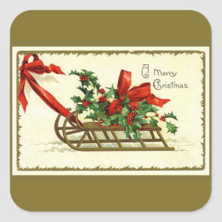 Vintage Golden Christmas Sleigh Square Sticker