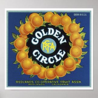 Vintage Golden Circle Fruit Crate Label Print