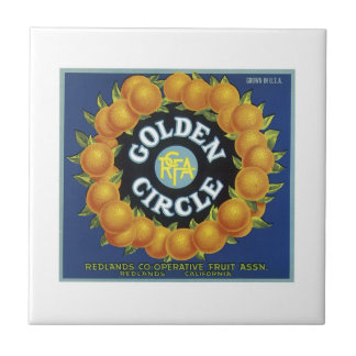 Vintage Golden Circle Fruit Crate Label Tile