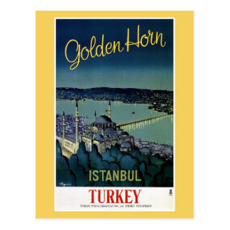 Vintage Golden Horn Istanbul Turkey travel Postcard