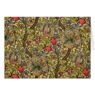 Vintage Golden Lilly Floral Design William Morris Greeting Card
