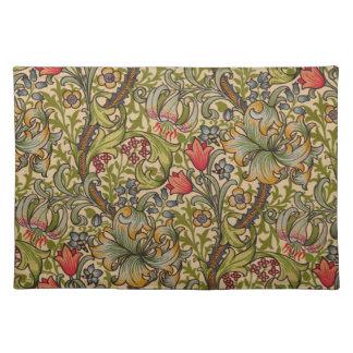 Vintage Golden Lilly Floral Design William Morris Place Mat